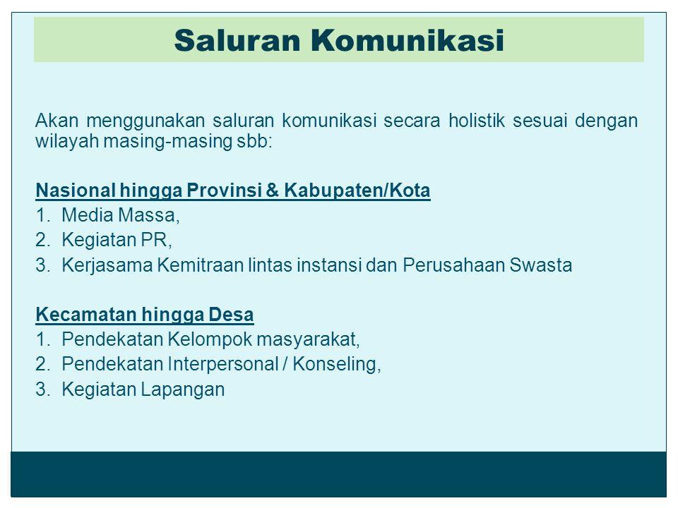 Saluran Komunikasi Akan menggunakan saluran komunikasi secara holistik sesuai dengan wilayah masing-masing sbb: Nasional hingga Provinsi & Kabupaten/K