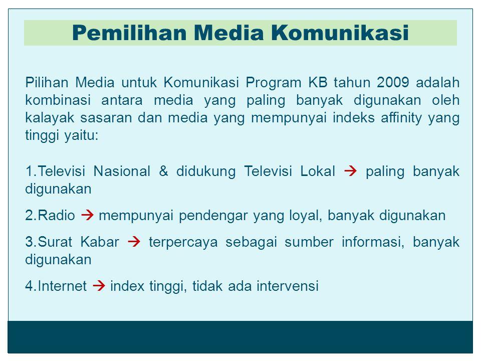 Pilihan Media untuk Komunikasi Program KB tahun 2009 adalah kombinasi antara media yang paling banyak digunakan oleh kalayak sasaran dan media yang me