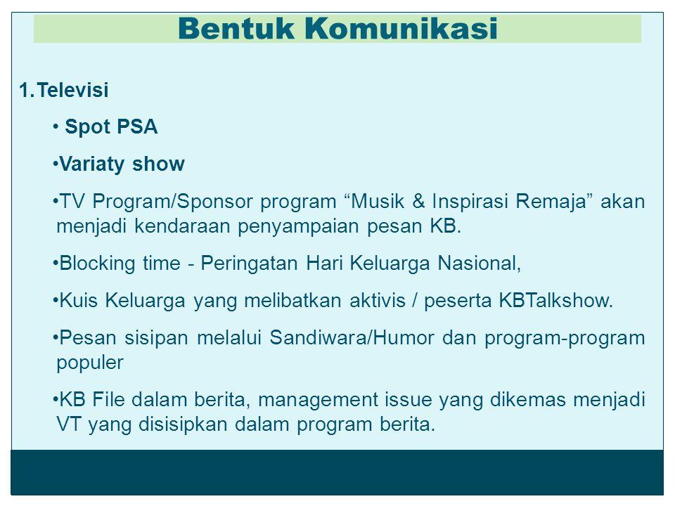 "1.Televisi Spot PSA Variaty show TV Program/Sponsor program ""Musik & Inspirasi Remaja"" akan menjadi kendaraan penyampaian pesan KB. Blocking time - Pe"