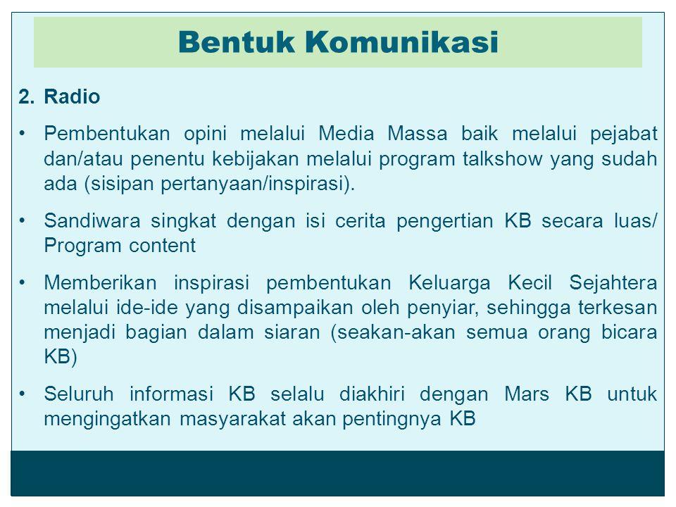 2.Radio Pembentukan opini melalui Media Massa baik melalui pejabat dan/atau penentu kebijakan melalui program talkshow yang sudah ada (sisipan pertany