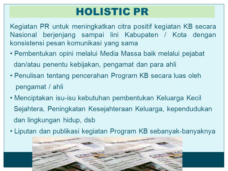 Kegiatan PR untuk meningkatkan citra positif kegiatan KB secara Nasional berjenjang sampai lini Kabupaten / Kota dengan konsistensi pesan komunikasi y