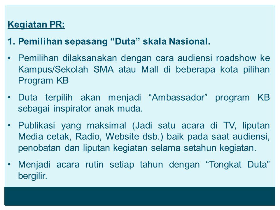 """Kegiatan PR: 1.Pemilihan sepasang """"Duta"""" skala Nasional. Pemilihan dilaksanakan dengan cara audiensi roadshow ke Kampus/Sekolah SMA atau Mall di beber"""