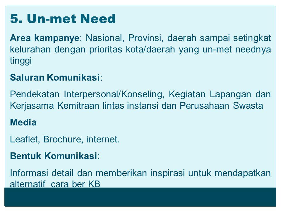 Area kampanye: Nasional, Provinsi, daerah sampai setingkat kelurahan dengan prioritas kota/daerah yang un-met neednya tinggi Saluran Komunikasi: Pende
