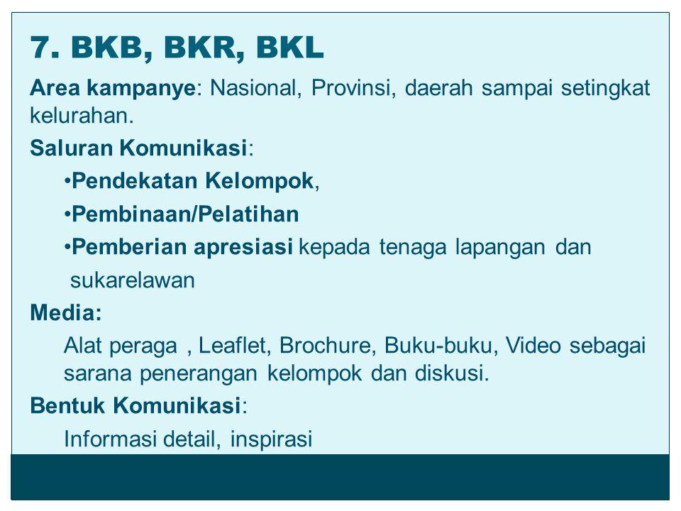 Area kampanye: Nasional, Provinsi, daerah sampai setingkat kelurahan. Saluran Komunikasi: Pendekatan Kelompok, Pembinaan/Pelatihan Pemberian apresiasi