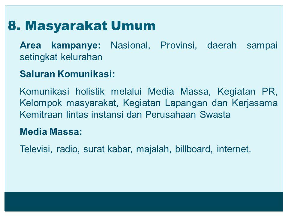 Area kampanye: Nasional, Provinsi, daerah sampai setingkat kelurahan Saluran Komunikasi: Komunikasi holistik melalui Media Massa, Kegiatan PR, Kelompo