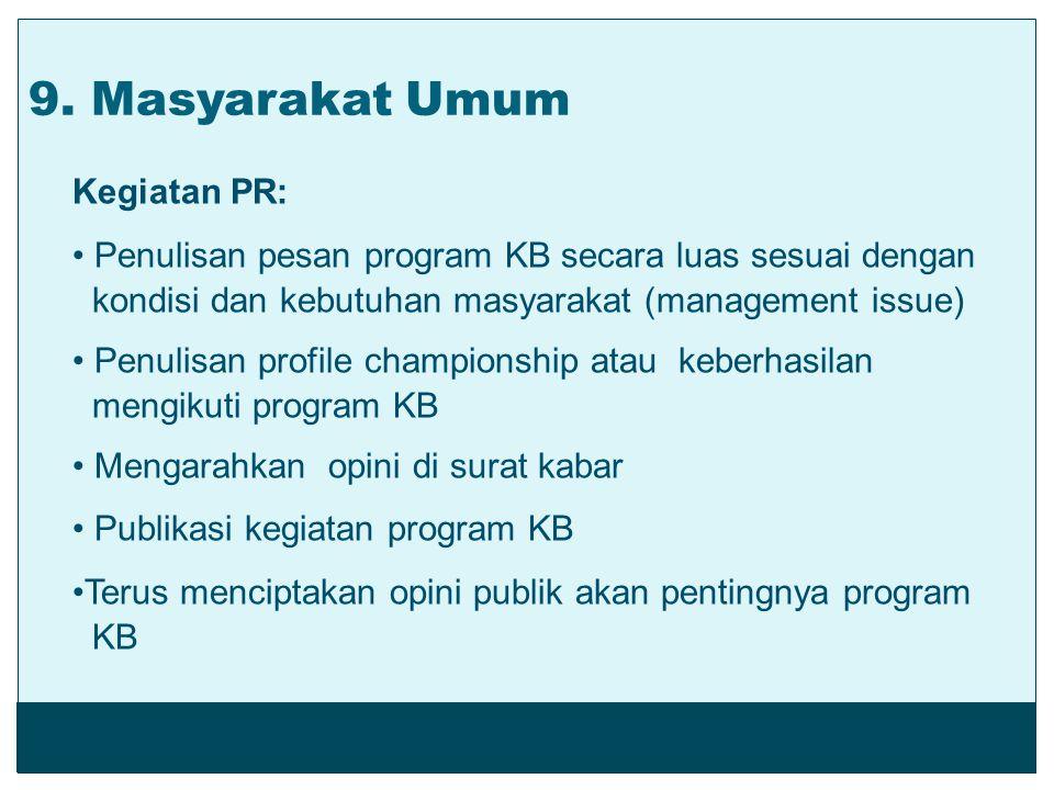 Kegiatan PR: Penulisan pesan program KB secara luas sesuai dengan kondisi dan kebutuhan masyarakat (management issue) Penulisan profile championship a