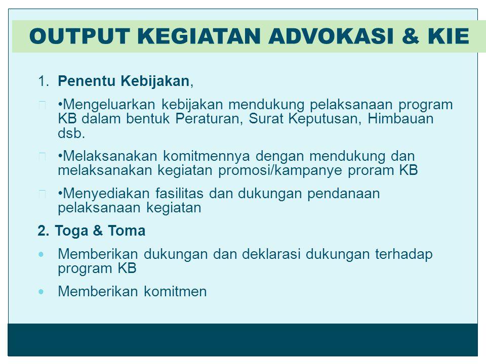 1.Penentu Kebijakan, Mengeluarkan kebijakan mendukung pelaksanaan program KB dalam bentuk Peraturan, Surat Keputusan, Himbauan dsb. Melaksanakan komit
