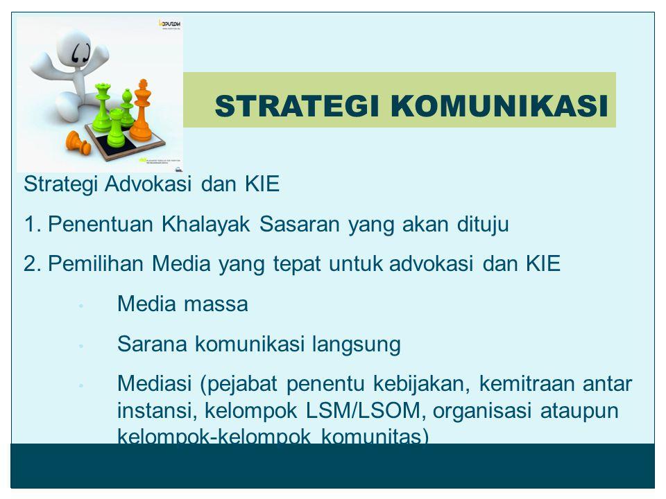 STRATEGI KOMUNIKASI Strategi Advokasi dan KIE 1. Penentuan Khalayak Sasaran yang akan dituju 2. Pemilihan Media yang tepat untuk advokasi dan KIE Medi