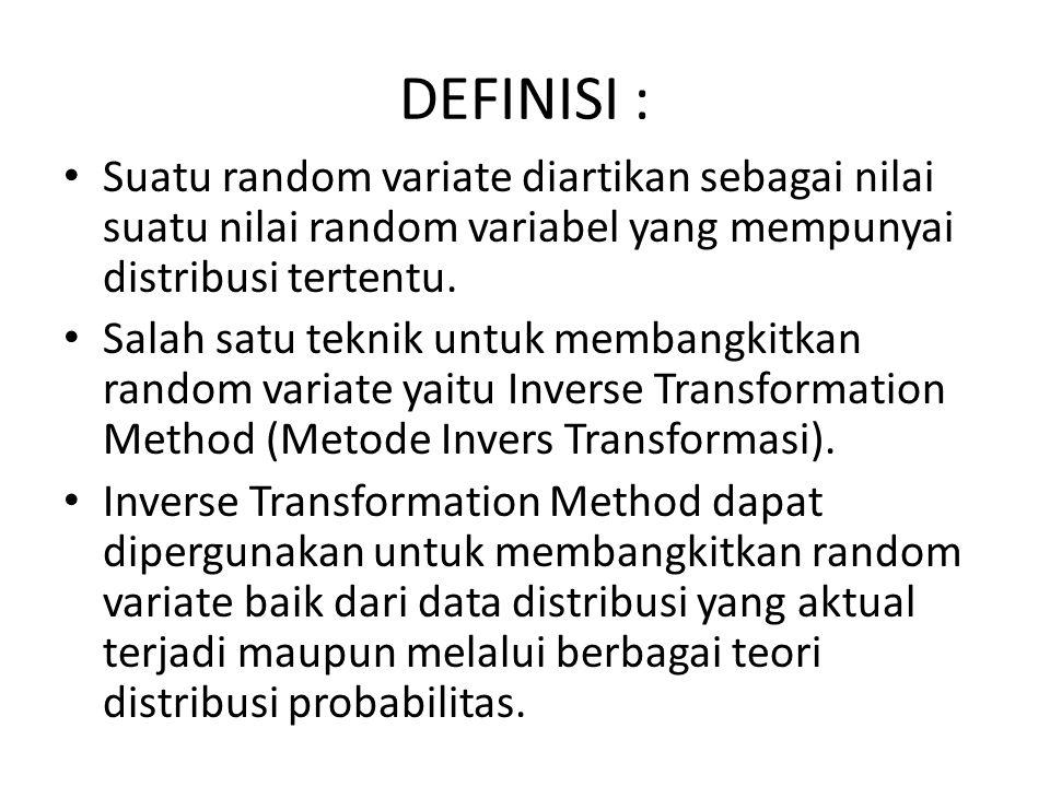 DEFINISI : Suatu random variate diartikan sebagai nilai suatu nilai random variabel yang mempunyai distribusi tertentu. Salah satu teknik untuk memban