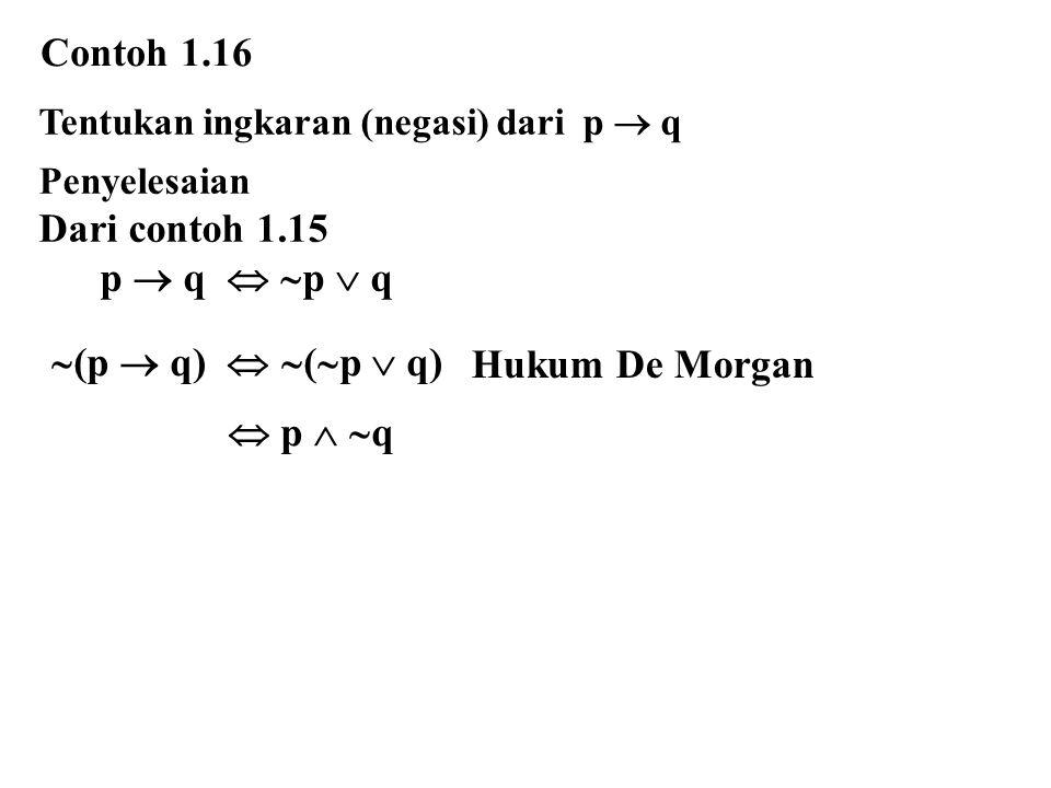 Tentukan ingkaran (negasi) dari p  q Penyelesaian Dari contoh 1.15 p  q   p  q Contoh 1.16  p   q  (p  q)   (  p  q) Hukum De Morgan