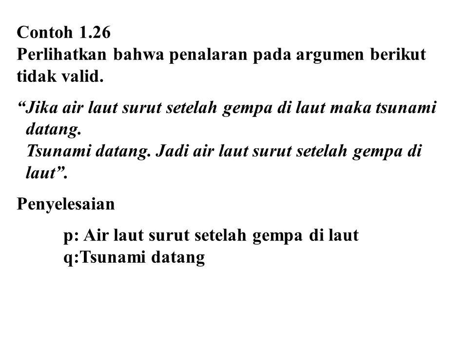 """Contoh 1.26 Perlihatkan bahwa penalaran pada argumen berikut tidak valid. """"Jika air laut surut setelah gempa di laut maka tsunami datang. Tsunami data"""