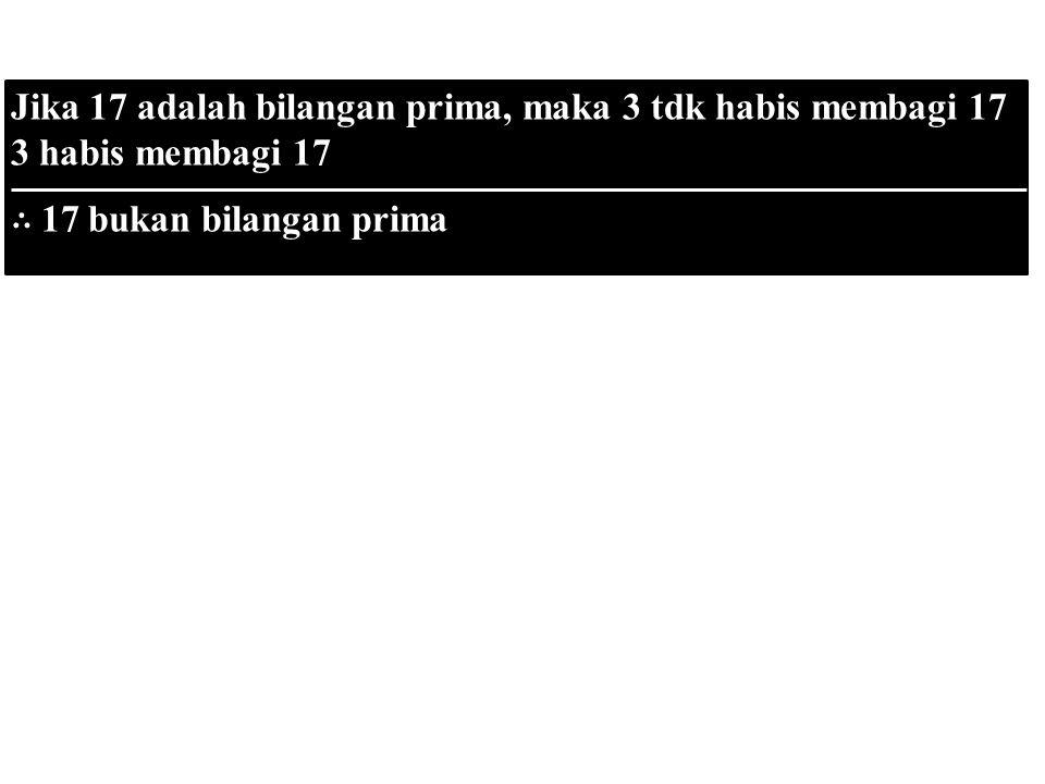 p qq∴ pp qq∴ p Jika 17 adalah bilangan prima, maka 3 tdk habis membagi 17 3 habis membagi 17 ∴ 17 bukan bilangan prima
