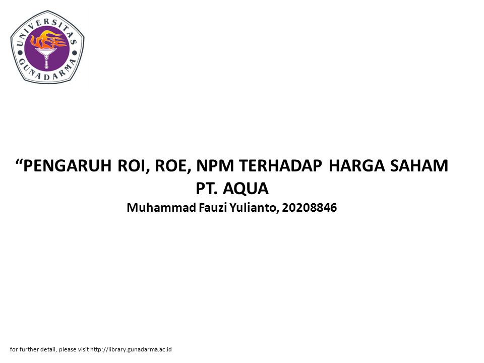 PENGARUH ROI, ROE, NPM TERHADAP HARGA SAHAM PT.