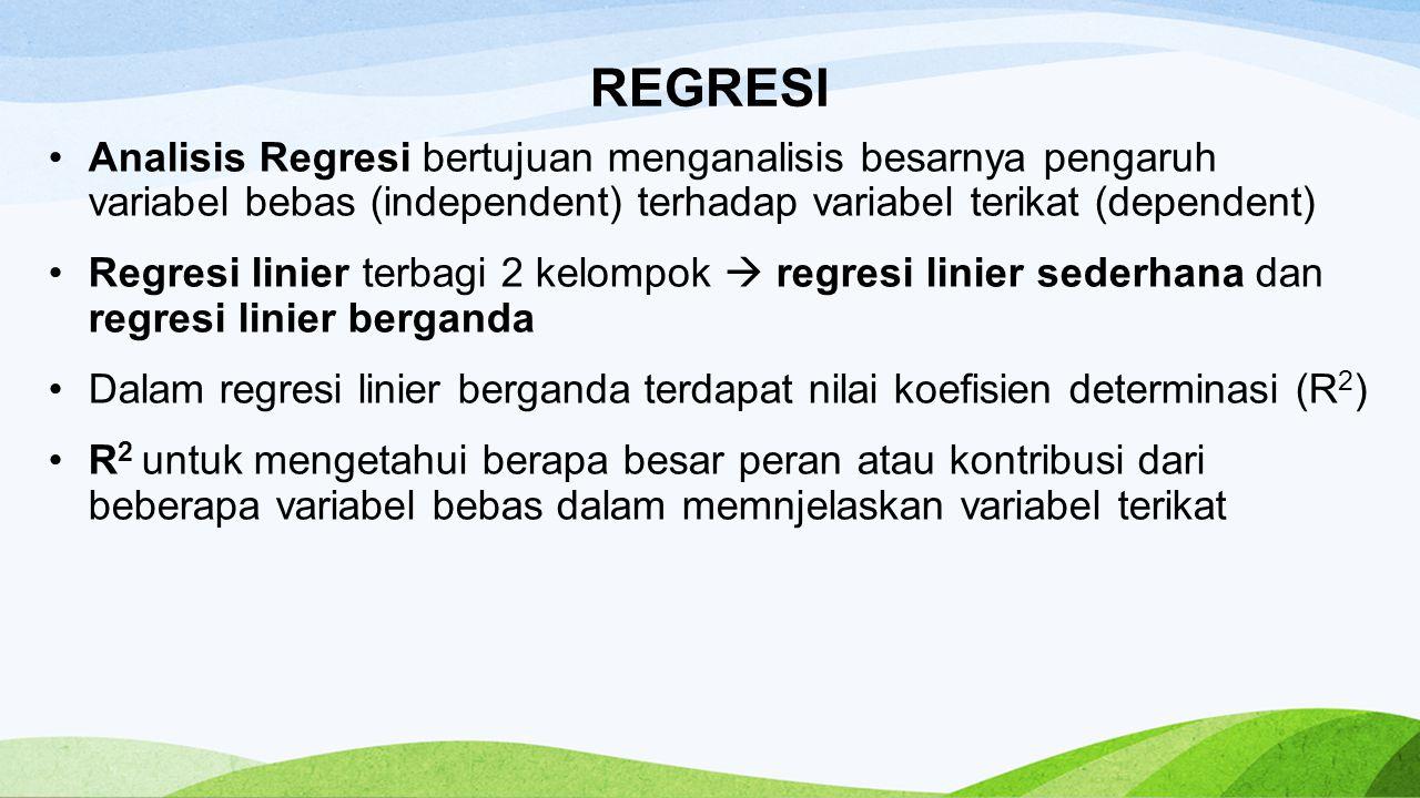 REGRESI Analisis Regresi bertujuan menganalisis besarnya pengaruh variabel bebas (independent) terhadap variabel terikat (dependent) Regresi linier te