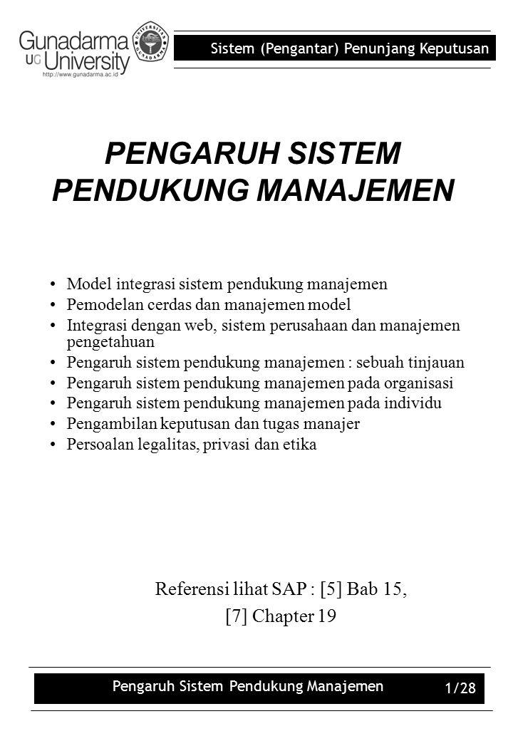 Sistem (Pengantar) Penunjang Keputusan Pengaruh Sistem Pendukung Manajemen 12/28 Other Considerations Impacts of MSS –On job qualifications.