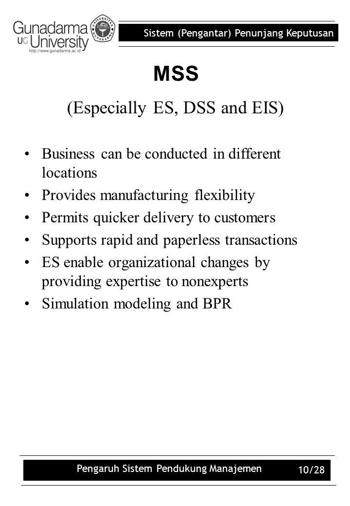 Sistem (Pengantar) Penunjang Keputusan Pengaruh Sistem Pendukung Manajemen 10/28 (Especially ES, DSS and EIS) Business can be conducted in different l
