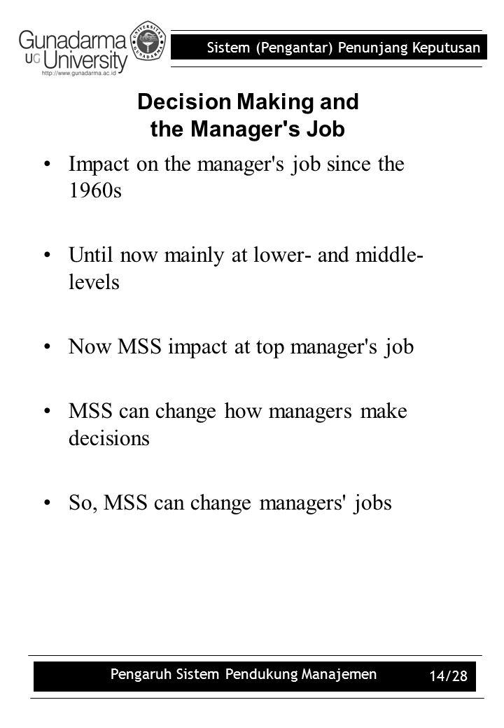 Sistem (Pengantar) Penunjang Keputusan Pengaruh Sistem Pendukung Manajemen 14/28 Decision Making and the Manager's Job Impact on the manager's job sin