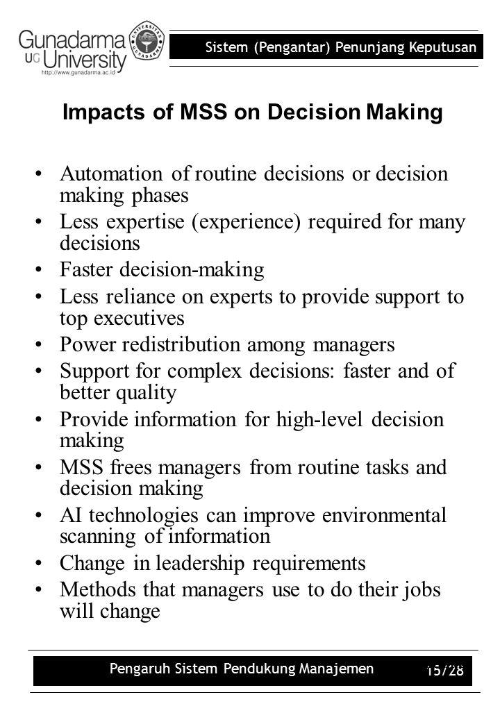 Sistem (Pengantar) Penunjang Keputusan Pengaruh Sistem Pendukung Manajemen 15/28 Automation of routine decisions or decision making phases Less expert