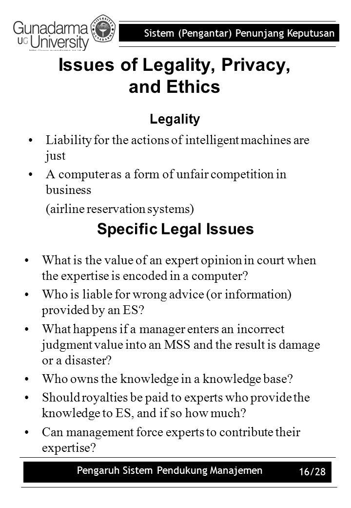 Sistem (Pengantar) Penunjang Keputusan Pengaruh Sistem Pendukung Manajemen 16/28 Issues of Legality, Privacy, and Ethics Legality Liability for the ac