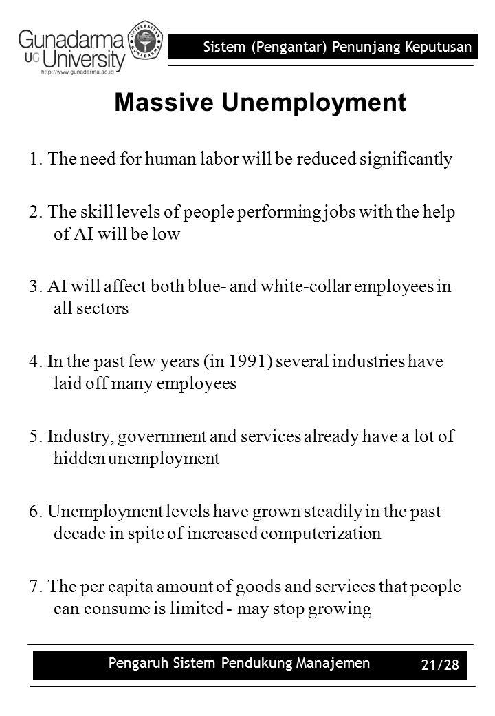 Sistem (Pengantar) Penunjang Keputusan Pengaruh Sistem Pendukung Manajemen 21/28 1. The need for human labor will be reduced significantly 2. The skil