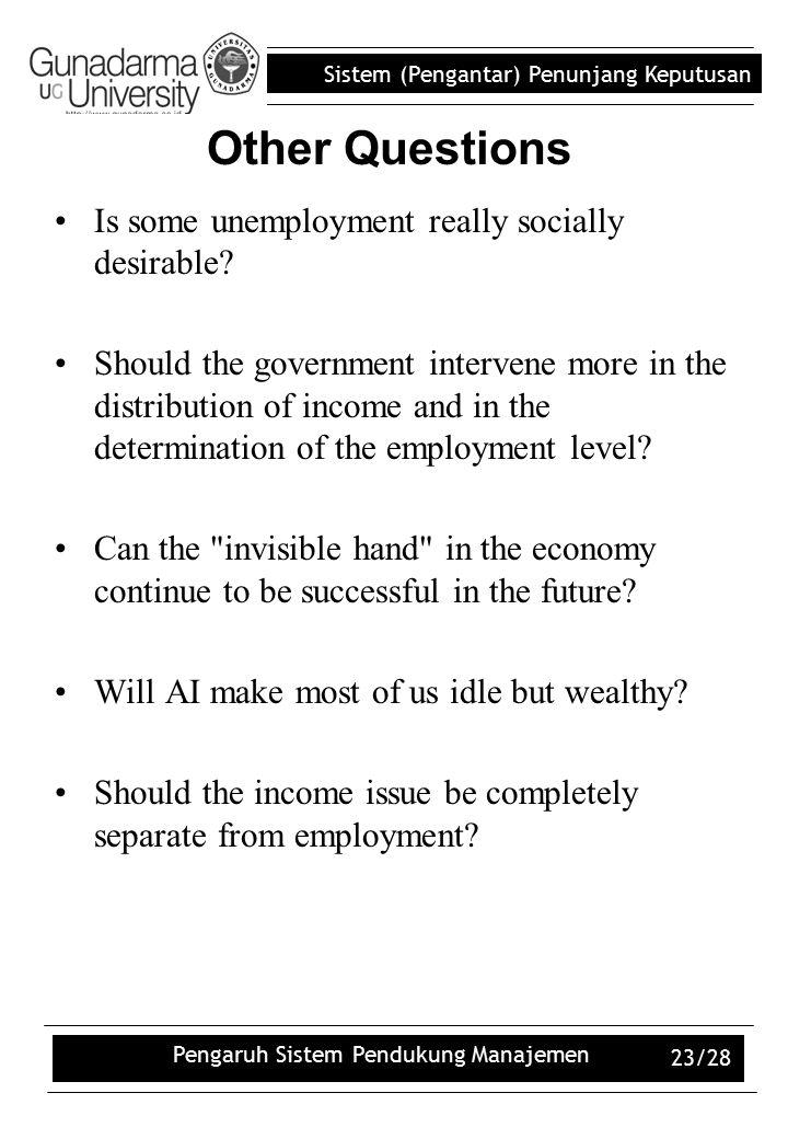 Sistem (Pengantar) Penunjang Keputusan Pengaruh Sistem Pendukung Manajemen 23/28 Is some unemployment really socially desirable? Should the government