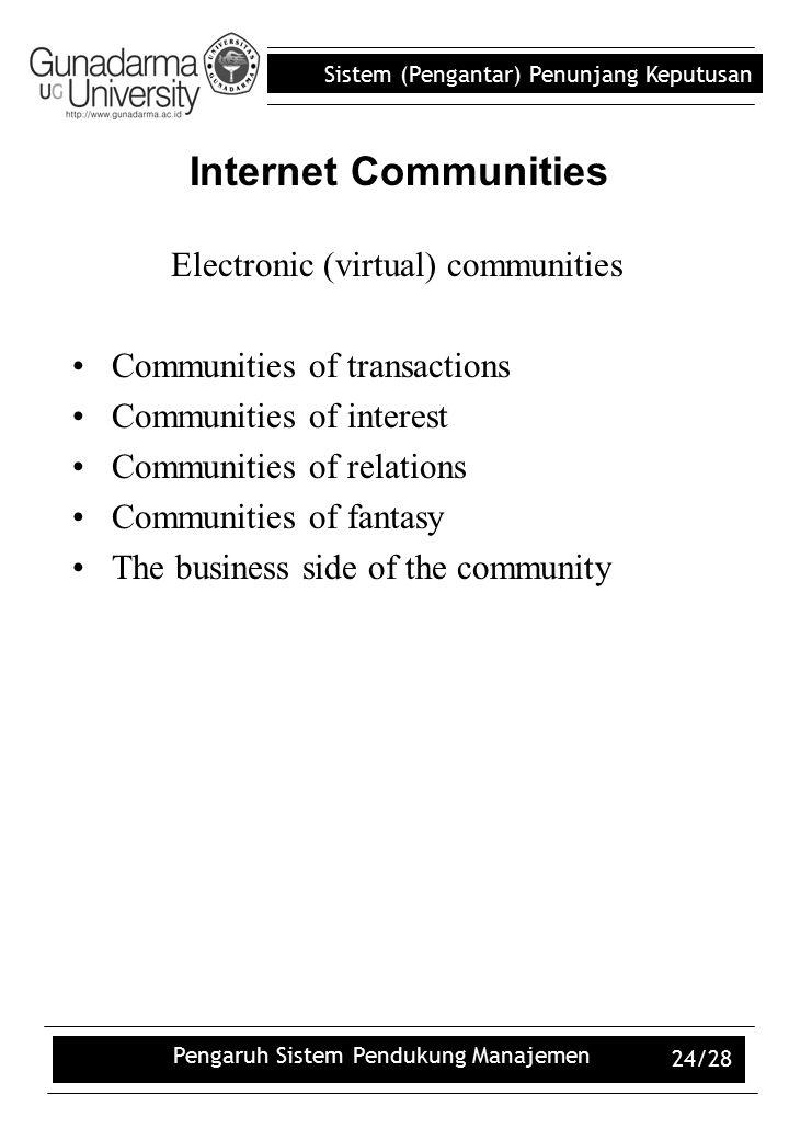 Sistem (Pengantar) Penunjang Keputusan Pengaruh Sistem Pendukung Manajemen 24/28 Internet Communities Electronic (virtual) communities Communities of