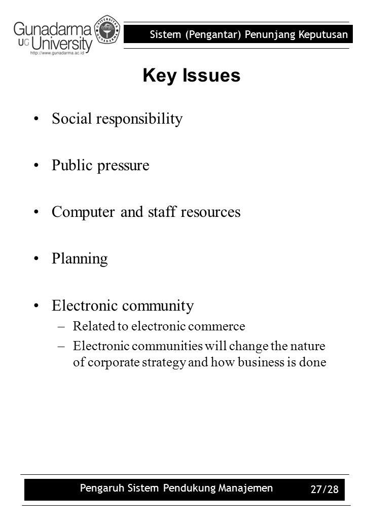 Sistem (Pengantar) Penunjang Keputusan Pengaruh Sistem Pendukung Manajemen 27/28 Social responsibility Public pressure Computer and staff resources Pl