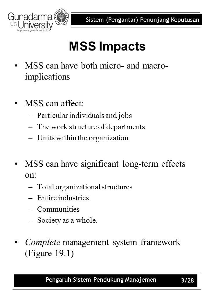Sistem (Pengantar) Penunjang Keputusan Pengaruh Sistem Pendukung Manajemen 3/28 MSS can have both micro- and macro- implications MSS can affect: –Part