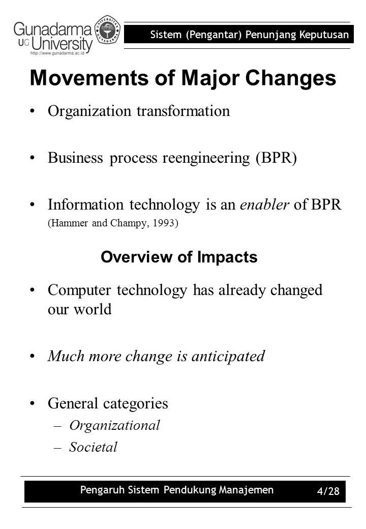 Sistem (Pengantar) Penunjang Keputusan Pengaruh Sistem Pendukung Manajemen 4/28 Organization transformation Business process reengineering (BPR) Infor