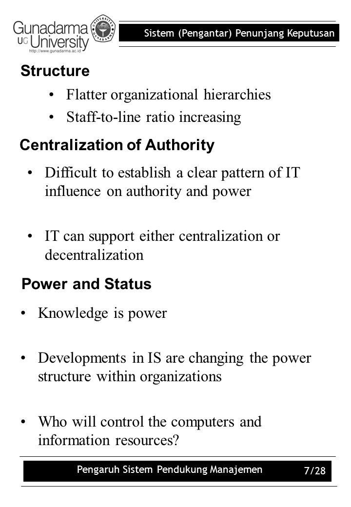 Sistem (Pengantar) Penunjang Keputusan Pengaruh Sistem Pendukung Manajemen 7/28 Flatter organizational hierarchies Staff-to-line ratio increasing Stru