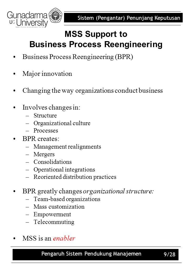 Sistem (Pengantar) Penunjang Keputusan Pengaruh Sistem Pendukung Manajemen 9/28 MSS Support to Business Process Reengineering Business Process Reengin
