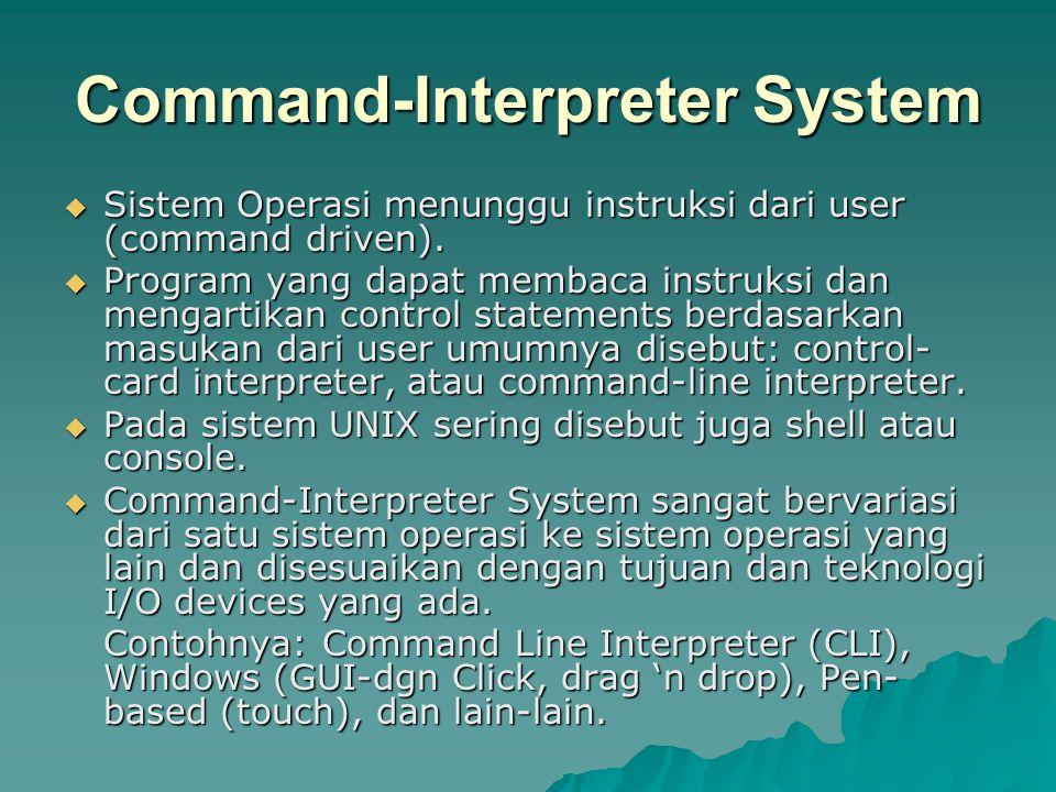Command-Interpreter System  Sistem Operasi menunggu instruksi dari user (command driven).  Program yang dapat membaca instruksi dan mengartikan cont