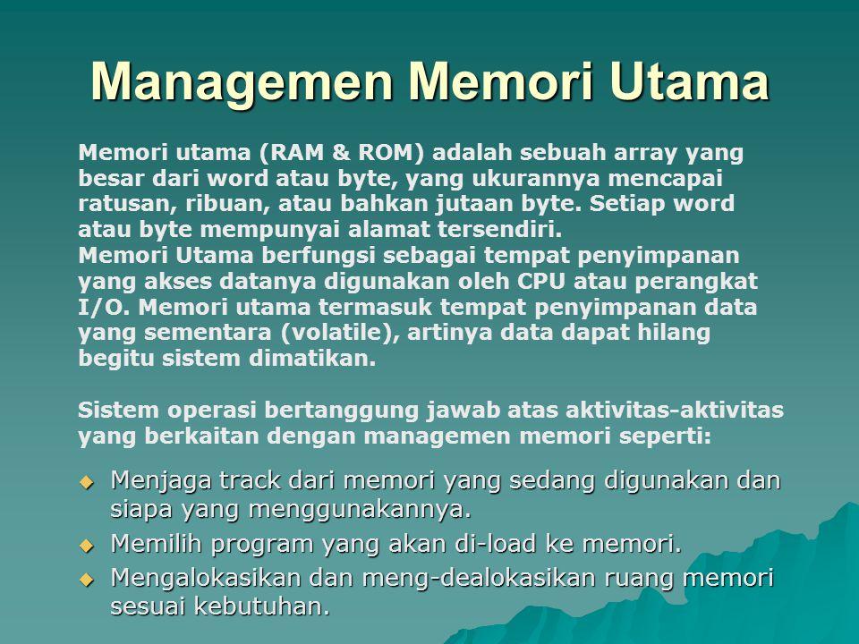 Managemen Memori Utama  Menjaga track dari memori yang sedang digunakan dan siapa yang menggunakannya.  Memilih program yang akan di-load ke memori.