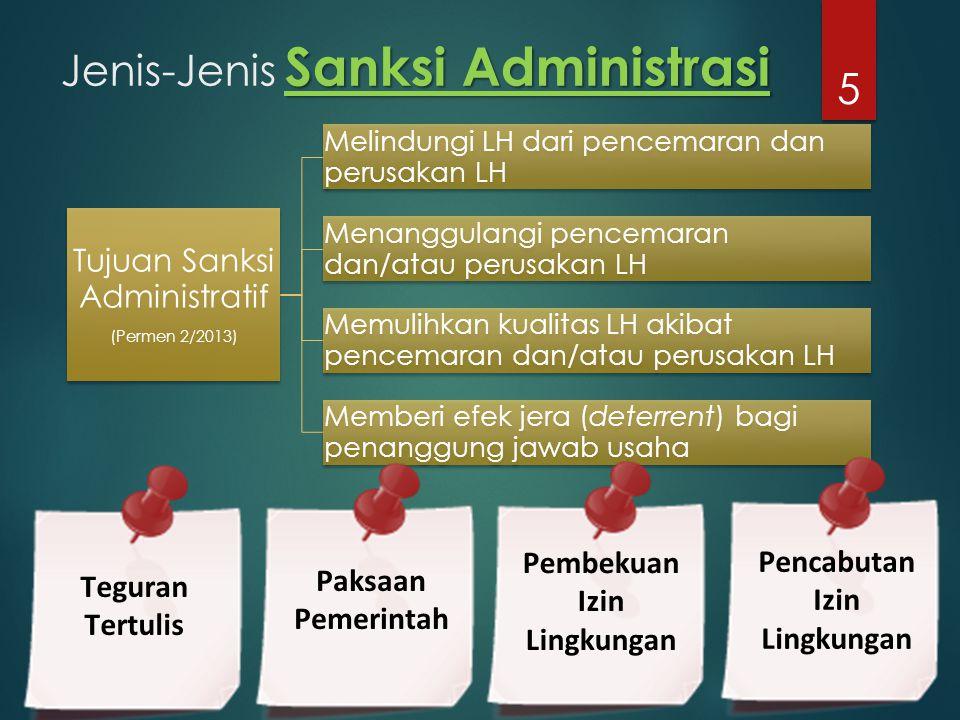 Sanksi Administrasi Jenis-Jenis Sanksi Administrasi Tujuan Sanksi Administratif (Permen 2/2013) Melindungi LH dari pencemaran dan perusakan LH Menangg