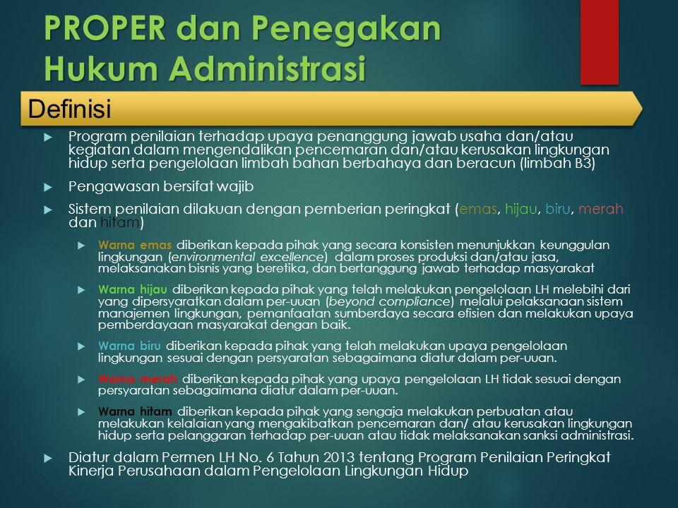PROPER dan Penegakan Hukum Administrasi  Program penilaian terhadap upaya penanggung jawab usaha dan/atau kegiatan dalam mengendalikan pencemaran dan