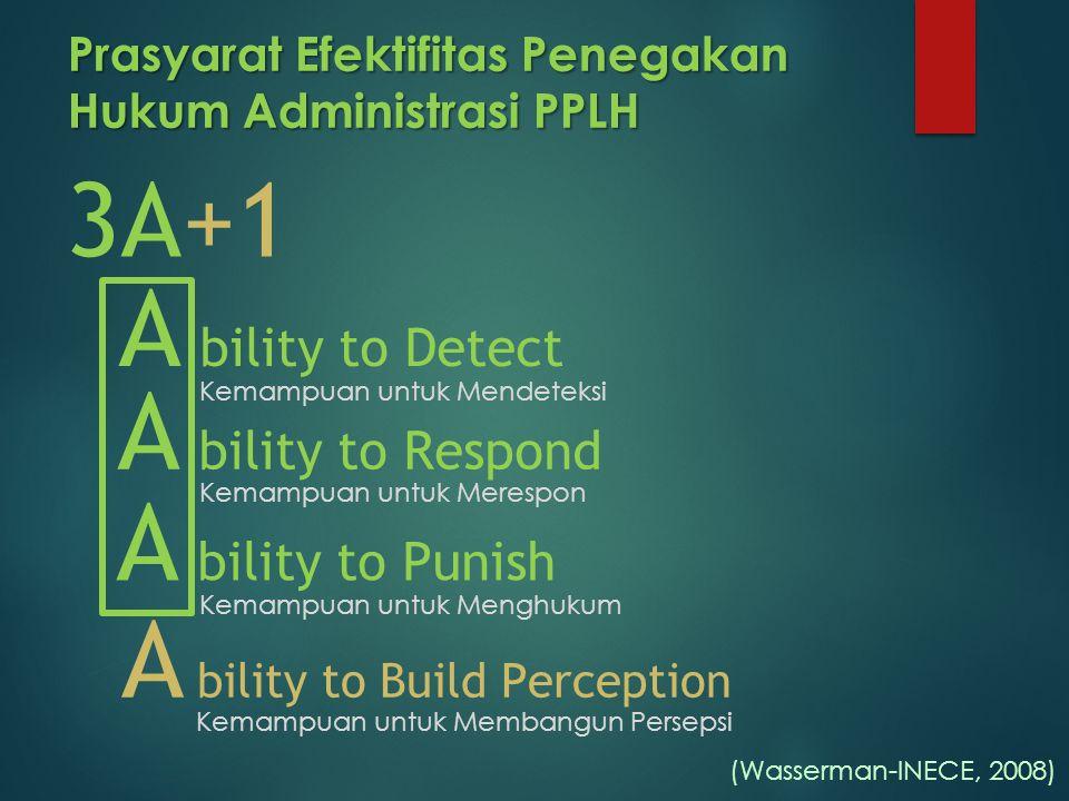 Prasyarat Efektifitas Penegakan Hukum Administrasi PPLH 3A+1 A bility to Detect A bility to Build Perception (Wasserman-INECE, 2008) Kemampuan untuk M