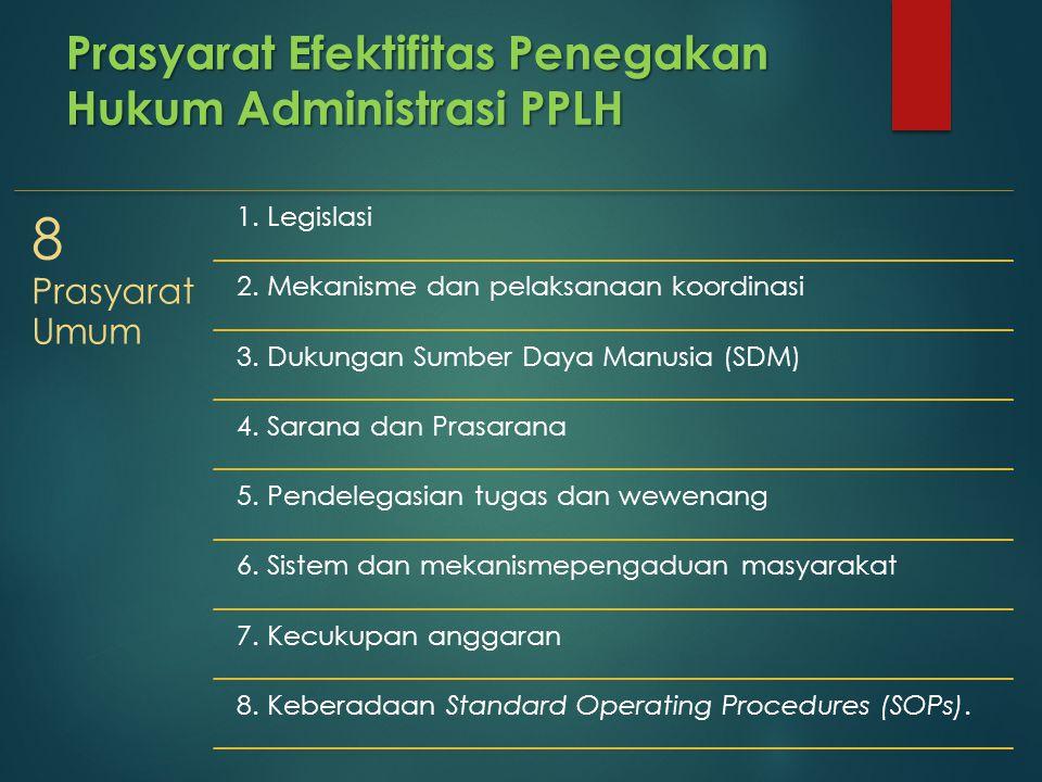Prasyarat Efektifitas Penegakan Hukum Administrasi PPLH 8 Prasyarat Umum 1. Legislasi 2. Mekanisme dan pelaksanaan koordinasi 3. Dukungan Sumber Daya