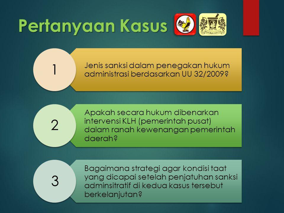 Pertanyaan Kasus Jenis sanksi dalam penegakan hukum administrasi berdasarkan UU 32/2009? Apakah secara hukum dibenarkan intervensi KLH (pemerintah pus