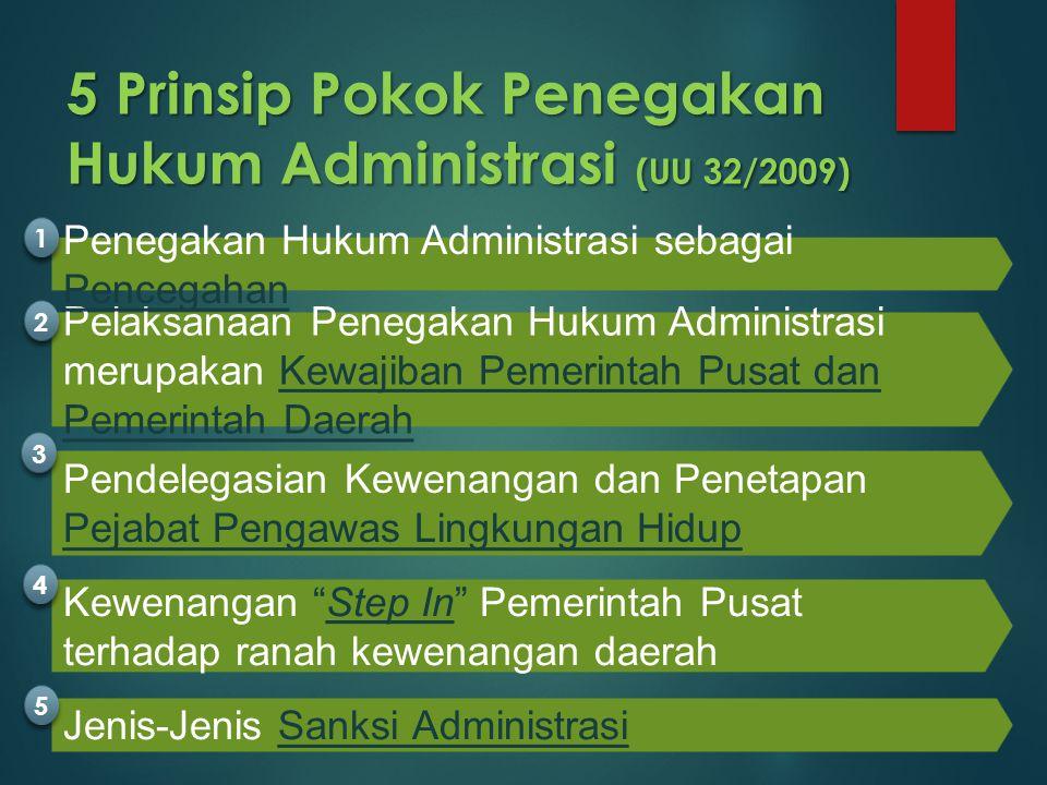 5 Prinsip Pokok Penegakan Hukum Administrasi (UU 32/2009) Pelaksanaan Penegakan Hukum Administrasi merupakan Kewajiban Pemerintah Pusat dan Pemerintah