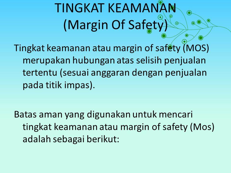 TINGKAT KEAMANAN (Margin Of Safety) Tingkat keamanan atau margin of safety (MOS) merupakan hubungan atas selisih penjualan tertentu (sesuai anggaran d