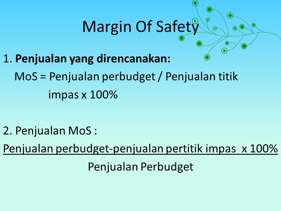 Margin Of Safety 1. Penjualan yang direncanakan: MoS = Penjualan perbudget / Penjualan titik impas x 100% 2. Penjualan MoS : Penjualan perbudget-penju