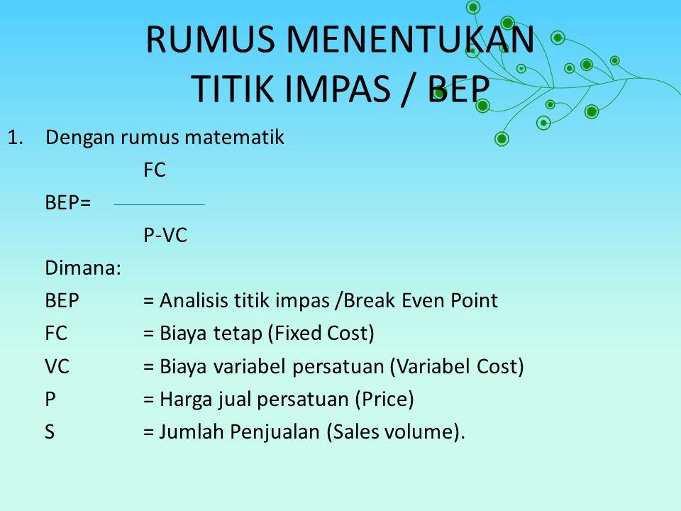 RUMUS MENENTUKAN TITIK IMPAS / BEP 1.Dengan rumus matematik FC BEP= P-VC Dimana: BEP= Analisis titik impas /Break Even Point FC= Biaya tetap (Fixed Co