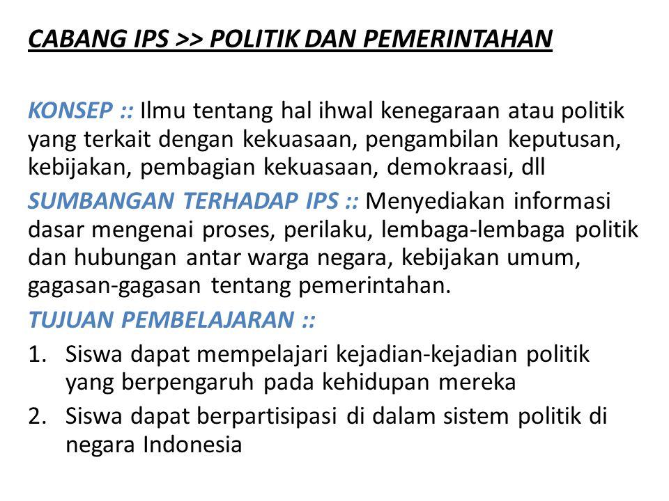 CABANG IPS >> POLITIK DAN PEMERINTAHAN KONSEP :: Ilmu tentang hal ihwal kenegaraan atau politik yang terkait dengan kekuasaan, pengambilan keputusan,