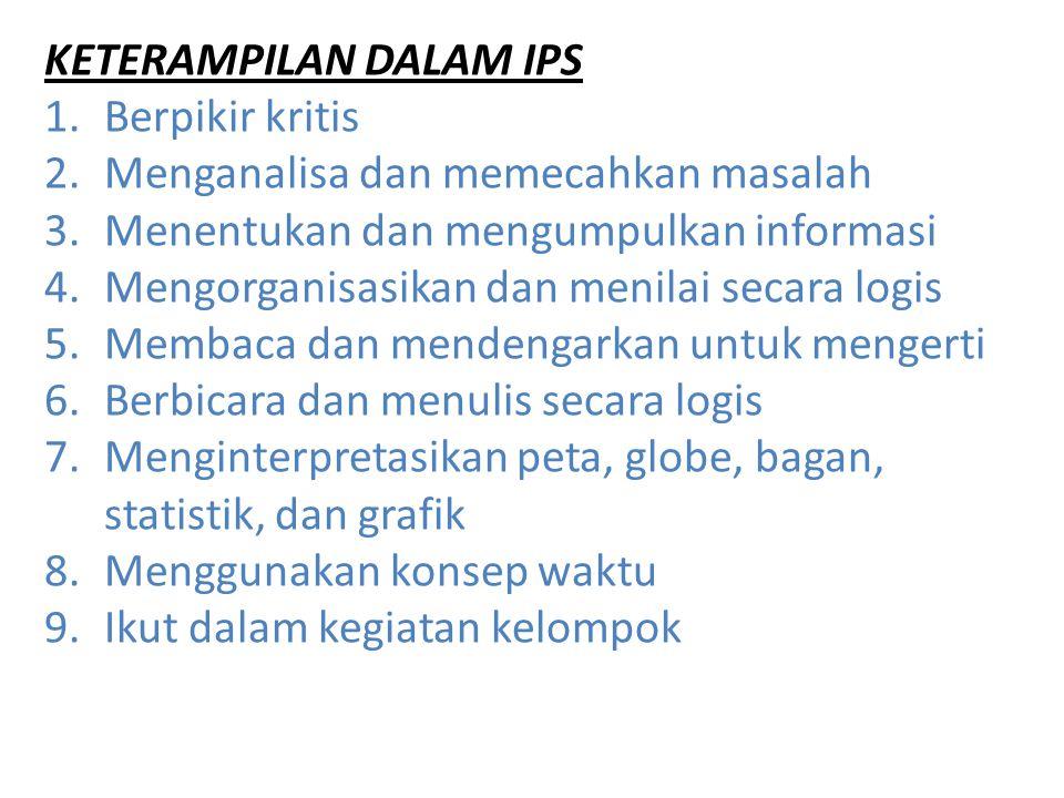 KETERAMPILAN DALAM IPS 1.Berpikir kritis 2.Menganalisa dan memecahkan masalah 3.Menentukan dan mengumpulkan informasi 4.Mengorganisasikan dan menilai
