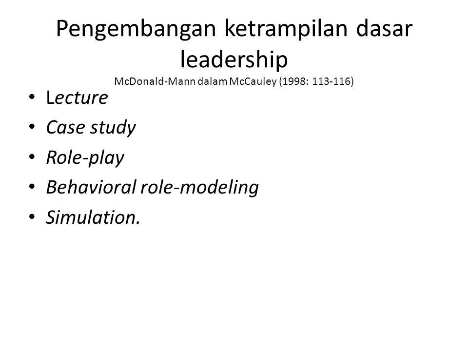 Pengembangan ketrampilan dasar leadership McDonald-Mann dalam McCauley (1998: 113-116) Lecture Case study Role-play Behavioral role-modeling Simulatio