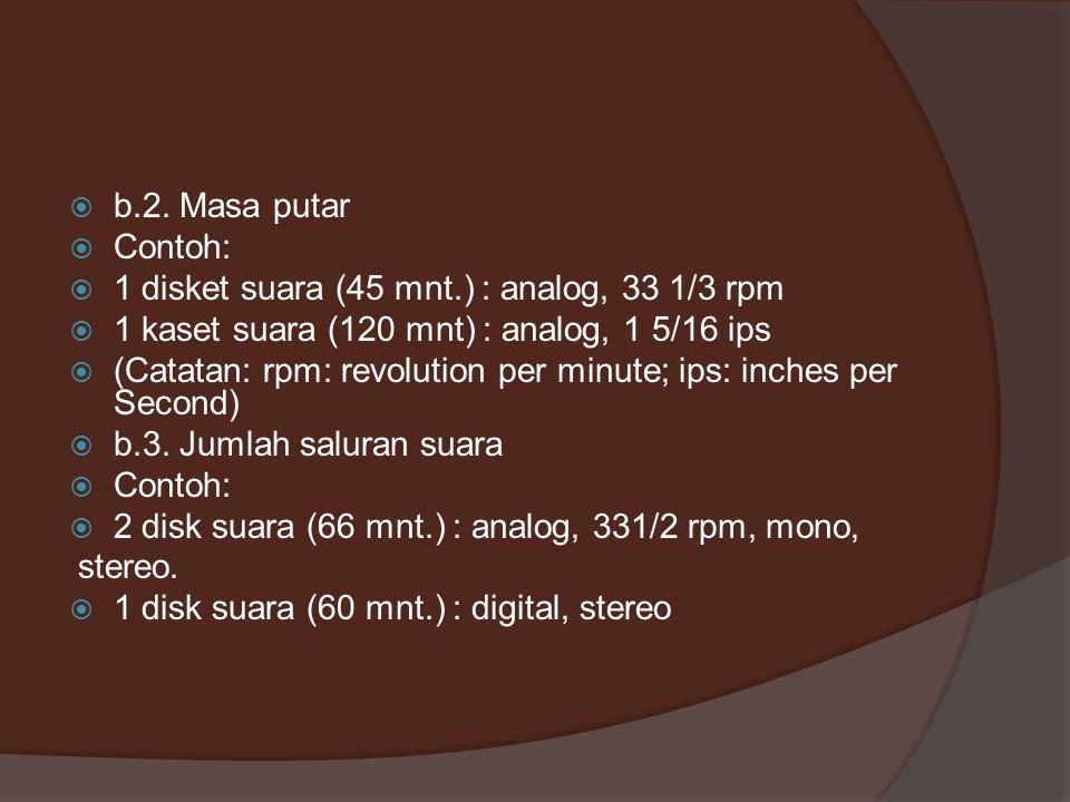  b.2. Masa putar  Contoh:  1 disket suara (45 mnt.) : analog, 33 1/3 rpm  1 kaset suara (120 mnt) : analog, 1 5/16 ips  (Catatan: rpm: revolution