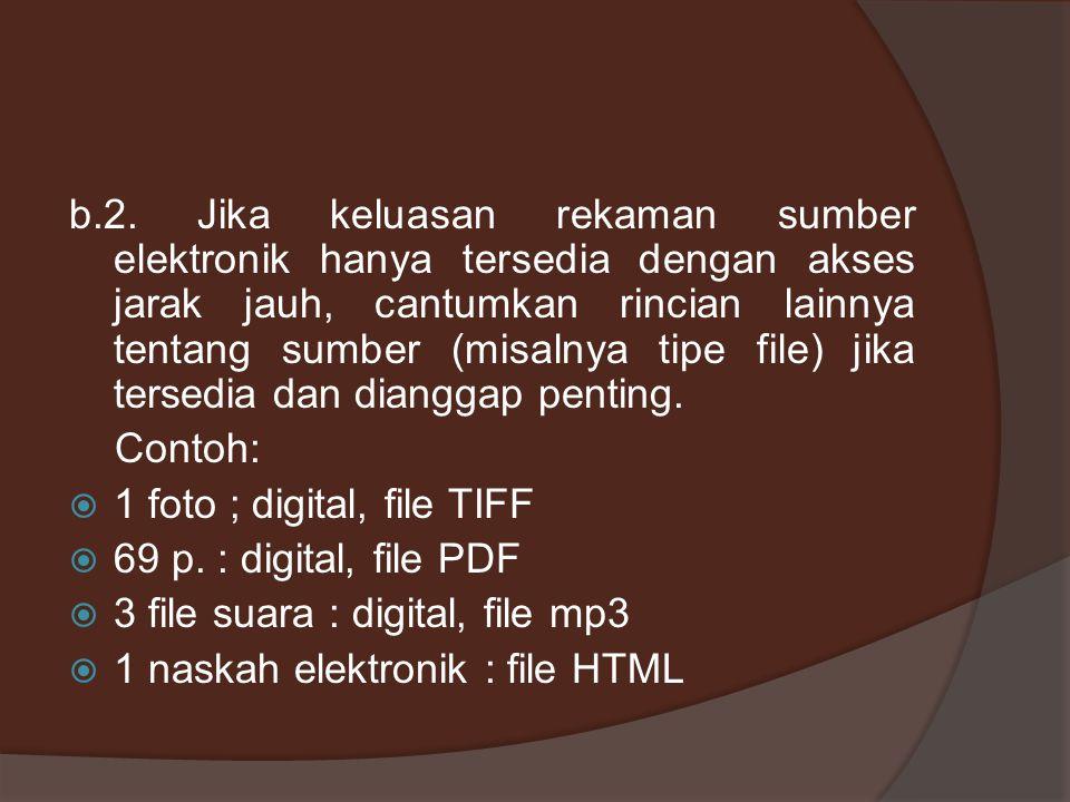 b.2. Jika keluasan rekaman sumber elektronik hanya tersedia dengan akses jarak jauh, cantumkan rincian lainnya tentang sumber (misalnya tipe file) jik