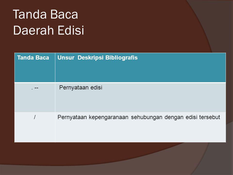 Tanda Baca Daerah Edisi Tanda BacaUnsur Deskripsi Bibliografis. -- Pernyataan edisi /Pernyataan kepengaranaan sehubungan dengan edisi tersebut