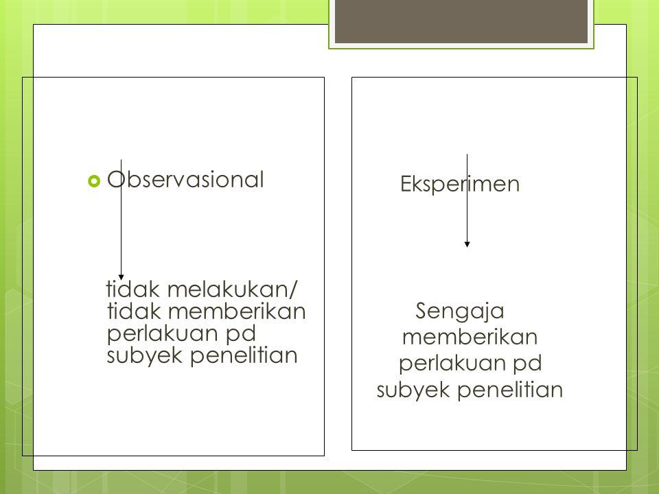  Observasional tidak melakukan/ tidak memberikan perlakuan pd subyek penelitian Eksperimen Sengaja memberikan perlakuan pd subyek penelitian