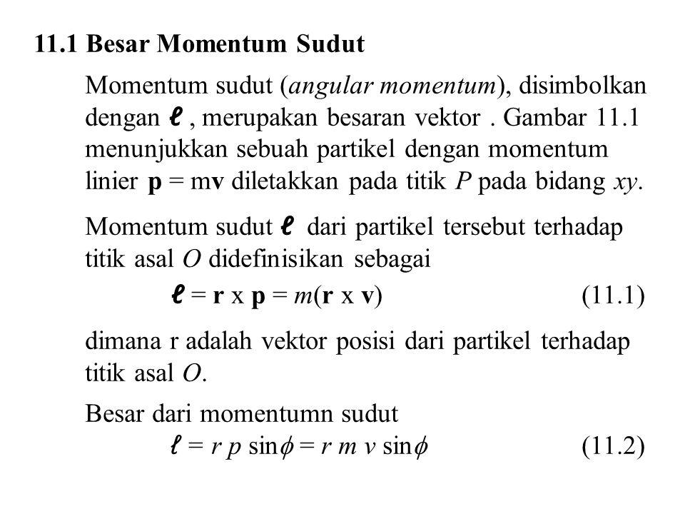11.1 Besar Momentum Sudut Momentum sudut (angular momentum), disimbolkan dengan ℓ, merupakan besaran vektor. Gambar 11.1 menunjukkan sebuah partikel d